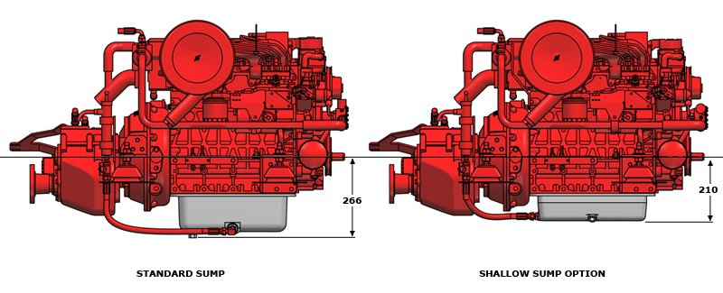 Beta Marine USA - marine diesel propulsion engine - shallow sump options