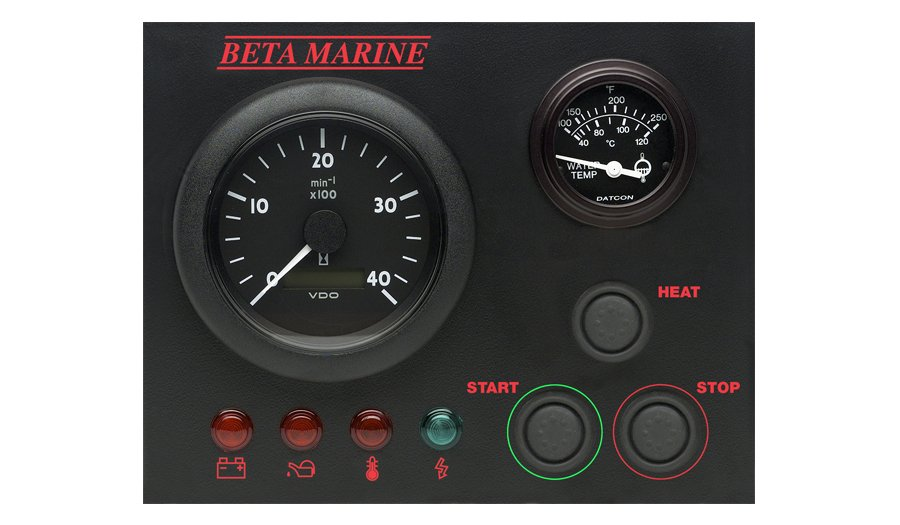 Beta Marine USA - marine diesel propulsion engine - control panel BW