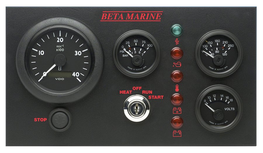 Beta Marine USA - marine diesel propulsion engine - control panel C
