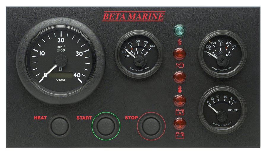 Beta Marine USA - marine diesel propulsion engine - control panel CW