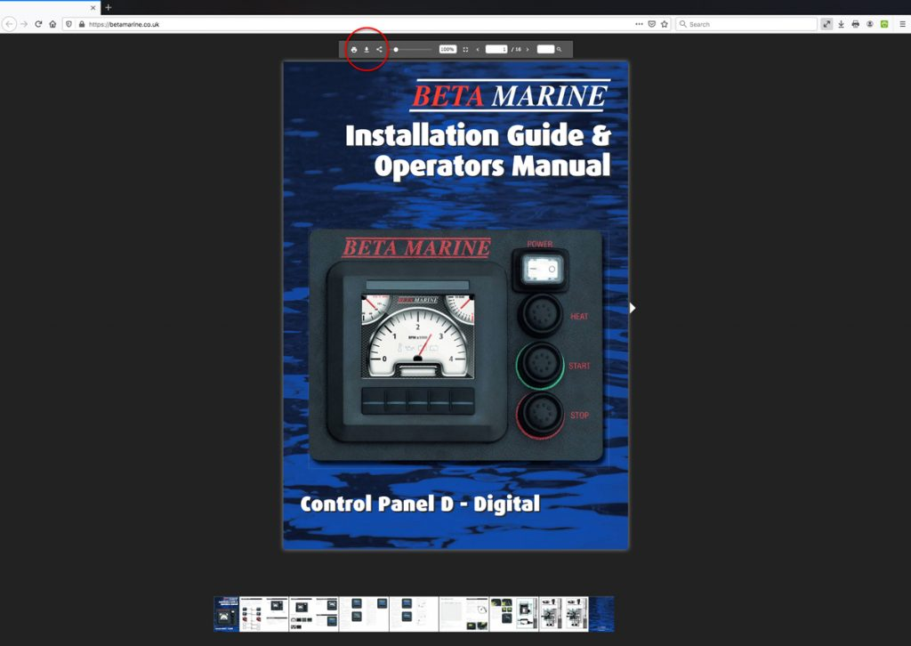 Beta Marine USA - marine diesel propulsion engines - control panel support literature