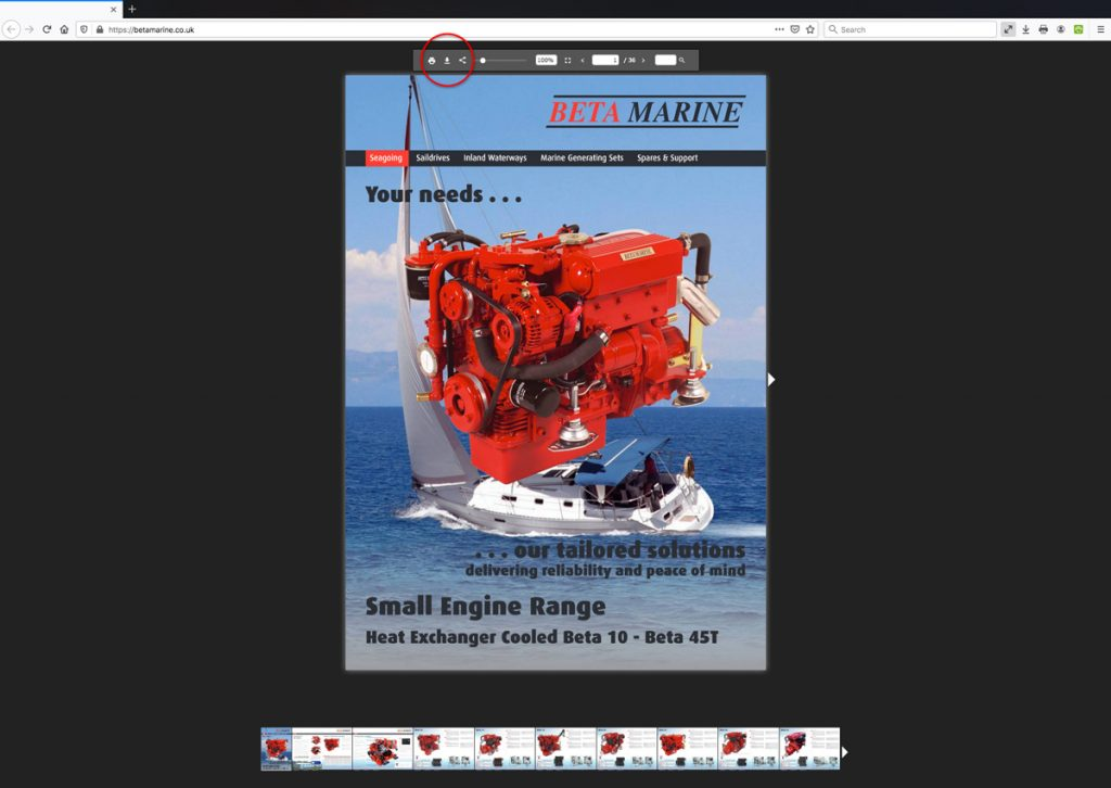 Beta Marine USA - marine diesel propulsion engines - heat exchanger engine support literature